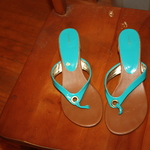 Turquoise low heel open toe shoes size 8 is being swapped online for free
