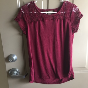 Lace burgundy top  is being swapped online for free