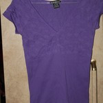 S/M Purple Shirt Indented Floral Design with Contrast Indented Vertical lines is being swapped online for free