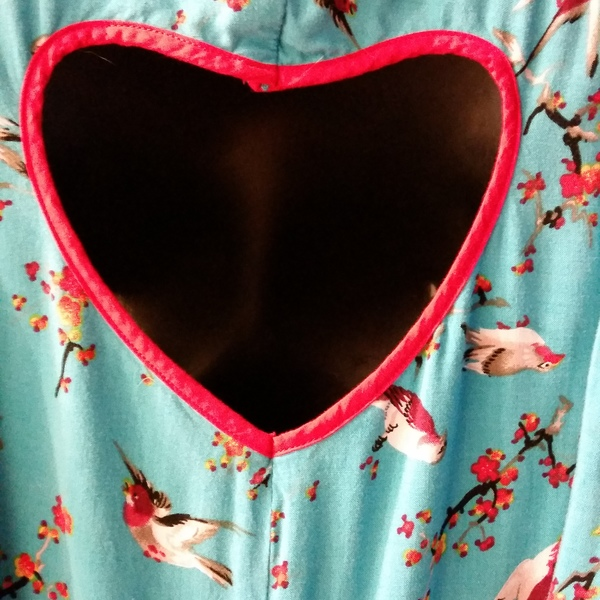 Xhiliration Teal Bird Print Dress with Heart Cutout is being swapped online for free