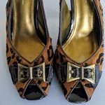 Paolo animal print calf hair Peep toe heels is being swapped online for free