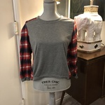 Gray and Plaid Top - Size Small is being swapped online for free