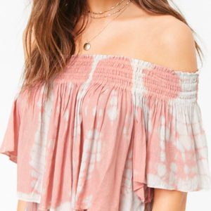 Off the Shoulder Pink and White Flowy Crop Top is being swapped online for free