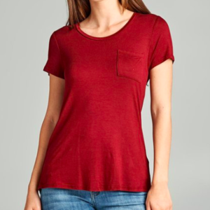 Dark Red Scoop Neck Flowy Tee with a Pocket is being swapped online for free