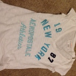 Aéropostale/aero White tee with blue letters is being swapped online for free