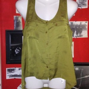 Forever 21 Olive Green High-Low Tank Top - Size Medium is being swapped online for free