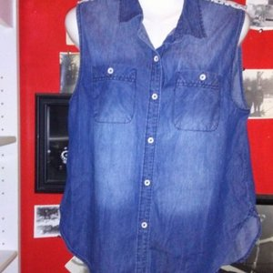 Mudd Sleeveless Blue Jean Top with Crocheted Panel - Size Large is being swapped online for free
