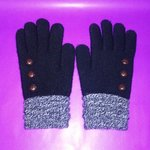 Ladies Black & Gray Knit Gloves with Buttons is being swapped online for free