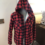 Red Plaid Flannel Sherpa Hoodie - SMALL is being swapped online for free