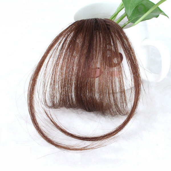 Chocolate Brown human hair faux hair clip in bangs ( NEW) is being swapped online for free
