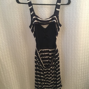 Navy blue and white striped backless high low dress M will fit xs-s is being swapped online for free
