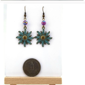 "Handmade Brass Patina/ Glass  ""Solar"" Dangle Earrings is being swapped online for free"