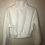 Women's white fuzzy half zip crop top sweater size small is being swapped online for free