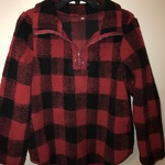 Women's black & red plaid half zip fuzzy sweater size small is being swapped online for free
