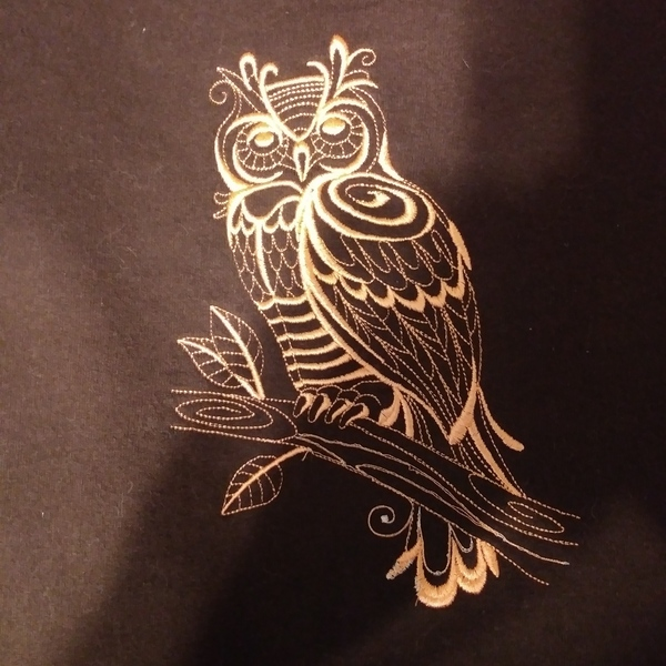 Women's large brown sweatshirt w embroidered owl. is being swapped online for free