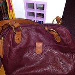Rosetti Dark Burgundy Purse Handbag Faux Leather Multi Pockets Zippers is being swapped online for free