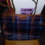 Checkered Purse Handbag Mauve and blue Colors Multi Pockets is being swapped online for free