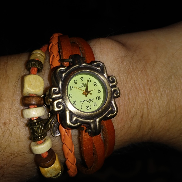 Ailisha braided bead Snap watch womens Burnt Orange adjustable 8 1/2in long is being swapped online for free