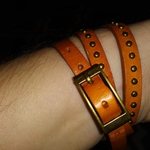 JQ Quartz Brass Wrap Around Watch Womens with Buckle Burnt Orange Adjustable is being swapped online for free