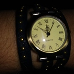 JQ Quartz Brass Wrap Around Watch Womens with Buckle Navy Blue Adjustable 24 inches long is being swapped online for free