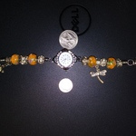Michelli Watch Silver Plated Beaded W/ Dragon Fly & Flower Charms 7in New Battery is being swapped online for free
