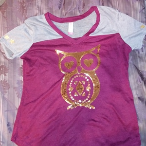 No Bounderies Womens/ Juniors Burgandy and Gray Owl T-Shirt XL is being swapped online for free