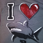 Womens Gray I love Shark Week T-shirt 2XL  Juniors 19 is being swapped online for free