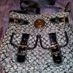GA Black and Gray Purse 13 in Wide X 12 in Long New is being swapped online for free