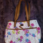 White Flower Purse with Light Brown Accents is being swapped online for free