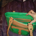 Green Purse with Light Brown Accents 13 Wide X 9 1/2 Long X 5 Deep is being swapped online for free