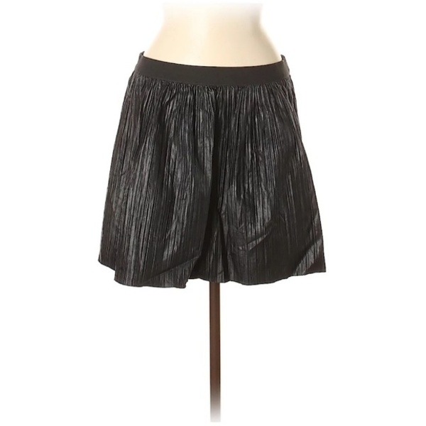 BCBGMaxazria Faux Leather Pleated Black Skirt - M is being swapped online for free