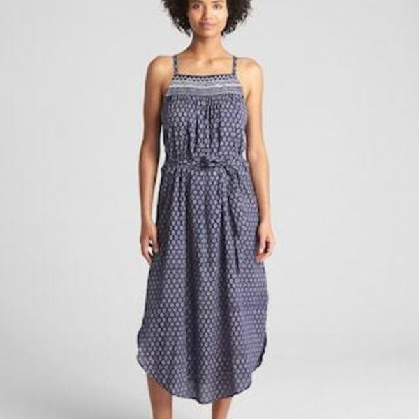 NWT Block-Print blue Cami Midi Dress -xs is being swapped online for free