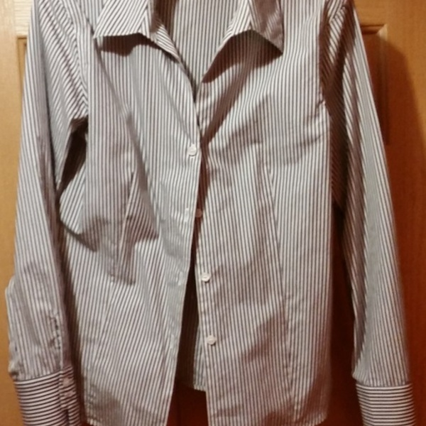 Calvin Klein striped tailored long-sleeved dress blouse, size 10 is being swapped online for free