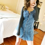 A denim no sleve American Eagle button up jean dress. is being swapped online for free