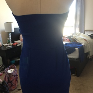 Royal Blue Form Fitting Strapless Front Zipper Dress is being swapped online for free