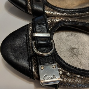 Coach Ballet metallic Black Flats - 7.5 is being swapped online for free