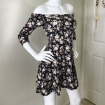 Forever 21 Black Floral Off Shoulder Dress Small  is being swapped online for free