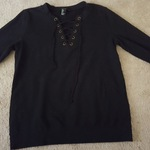 Forever 21, lace up ,black sweatshirt, sz. Small/Med. is being swapped online for free