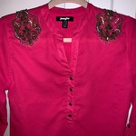 Vintage Jennyfer pink Long sleeve buttoned blouse with vintage shoulder crystal details is being swapped online for free