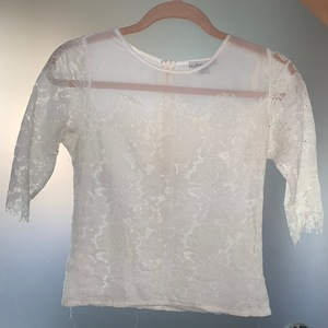 Vintage Floral White lace & mesh detailed patterned shirt  Lace top lace mesh top lace T-shirt lace b is being swapped online for free