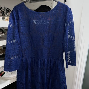 Vintage Blue lace dress, with lining under skirt  is being swapped online for free