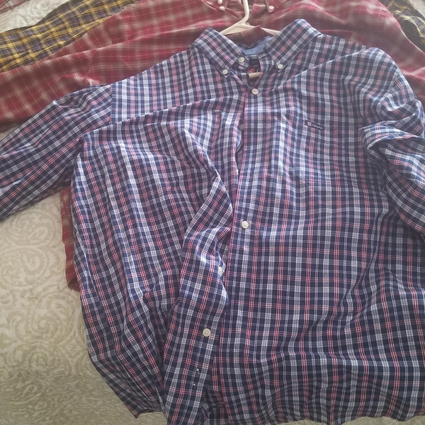 4 Button Down Name Brand Long Sleeve Shirts...Polo, St John's Bay, Chaps is being swapped online for free