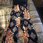 Navy and Pink Floral Pants Jumpsuit Only Worn Once Size Large  is being swapped online for free
