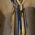 Yellow and Navy Pants Jumpsuit New with Tags size Large is being swapped online for free