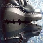 black platform moto boots with chains and studs goth rave emo gogo is being swapped online for free
