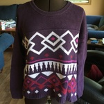 Purple Sweater with Multicolour Details is being swapped online for free
