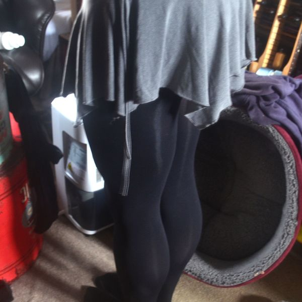 Grey skirt with Black Tights is being swapped online for free