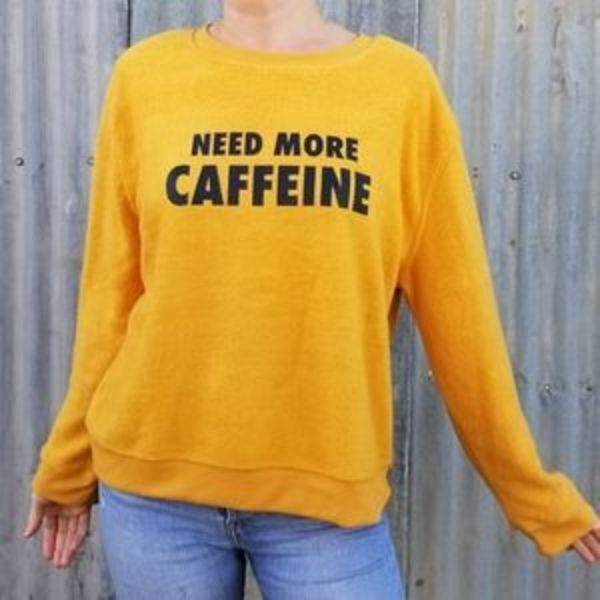 NEED MORE CAFFEINE MUSTARD SWEATER is being swapped online for free