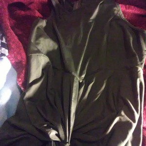 Long dark green dress is being swapped online for free