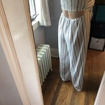 Navy and white stripes forever 21 jumpsuit  is being swapped online for free